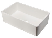 "ALFI AB533-W 33"" White Smooth Apron Single Bowl Fireclay Farm Sink"