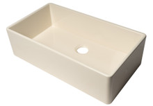 "ALFI AB536-B Biscuit 36"" Smooth Apron Single Bowl Fireclay Farm Sink"