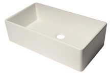 "ALFI AB536-W White 36"" Smooth Apron Single Bowl Fireclay Farm Sink"