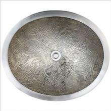 "Linkasink B016 AB Oval Botanical Antique Bronze Drop in / Undermount Lavatory or Vessel Sink 16.5"" X 13.5"" X 6"" Id"