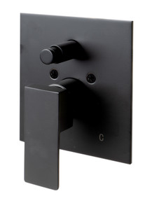 ALFI Black Matte Shower Valve with Square Lever Handle and Diverter