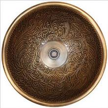 "Linkasink B004 P Botanical Polished White Bronze Bowl Drop in Lavatory or Vessel Sink 17"" X 6"""