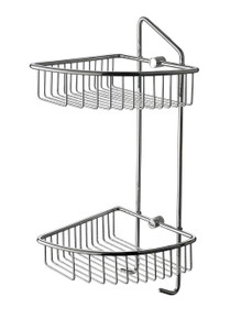 ALFI AB9532 Polished Chrome Corner Mounted Double Basket Shower Shelf Bathroom Accessory