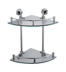 ALFI AB9548 Polished Chrome Corner Mounted Double Glass Shower Shelf Bathroom Accessory