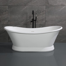 "ALFI 67"" White Matte Pedestal Solid Surface Resin Bathtub"