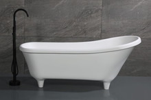 "ALFI 67"" White Matte Clawfoot Solid Surface Resin Bathtub"