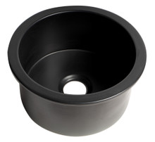 "ALFI Black Matte Round 18"" x 18"" Undermount / Drop In Fireclay Prep Sink"