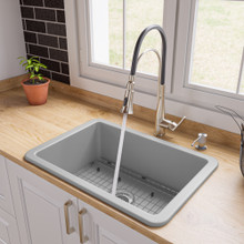 "ALFI Gray Matte 27"" x 18"" Fireclay Undermount / Drop In Firelcay Kitchen Sink"