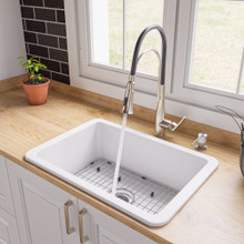 "ALFI White 27"" x 18"" Fireclay Undermount / Drop In Firelcay Kitchen Sink"