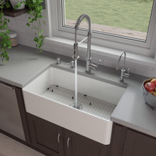 "ALFI ABF3318S 33"" White Thin Wall Single Bowl Smooth Apron Fireclay Kitchen Farm Sink"