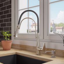 ALFI Brushed Nickel Kitchen Faucet with Black Rubber Stem