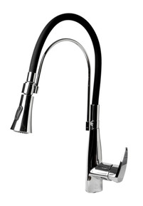 ALFI Polished Chrome Kitchen Faucet with Black Rubber Stem