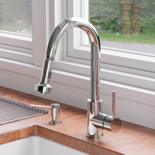 ALFI Polished Chrome Sensor Gooseneck Pull Down Kitchen Faucet