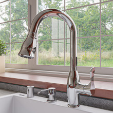 ALFI Polished Chrome Traditional Gooseneck Pull Down Kitchen Faucet
