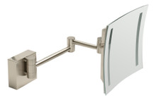 "ALFI  ABM8WLED-BN Brushed Nickel Wall Mount Square 8"" 5x Magnifying Cosmetic Mirror with Light"