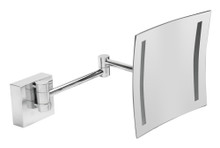"ALFI  ABM8WLED-PC Polished Chrome Wall Mount Square 8"" 5x Magnifying Cosmetic Mirror with Light"