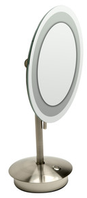 "ALFI  ABM9FLED-BN Brushed Nickel Tabletop Round 9"" 5x Magnifying Cosmetic Mirror with Light"