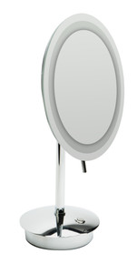 "ALFI  ABM9FLED-PC Polished Chrome Tabletop Round 9"" 5x Magnifying Cosmetic Mirror with Light"