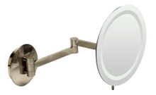 "ALFI  ABM9WLED-BN Brushed Nickel Wall Mount Round 9"" 5x Magnifying Cosmetic Mirror with Light"