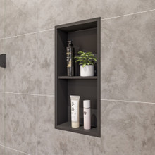 ALFI 12 x 24 Black Matte Stainless Steel Vertical Double Shelf Bath Shower Niche