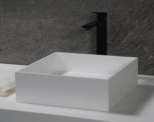 "ALFI 14"" Square White Matte Solid Surface Resin Sink"
