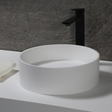 "ALFI 15"" Round White Matte Solid Surface Resin Sink"