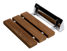 "ALFI ABS14-PC Polished Chrome 14"" Folding Teak Wood Shower Seat Bench"