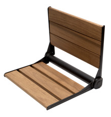 "ALFI Black Matte 17"" Wide Foldable Teak Shower Seat with Backrest"