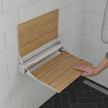 "ALFI ABS17 17"" Folding Teak Wood Shower Seat Bench with Backrest"