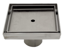 "ALFI ABSD55A 5"" x 5"" Modern Square Stainless Steel Shower Drain w/o Cover"