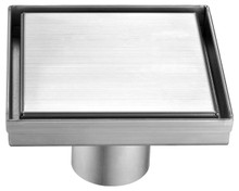 "ALFI ABSD55B-BSS 5"" x 5"" Modern Square Brushed Stainless Steel Shower Drain with Solid Cover"