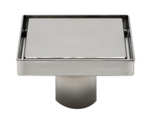 "ALFI ABSD55B-BSS 5"" x 5"" Modern Square Polished Stainless Steel Shower Drain with Solid Cover"