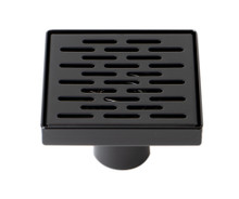 "ALFI 5"" x 5"" Black Matte Square Stainless Steel Shower Drain with Groove Holes"