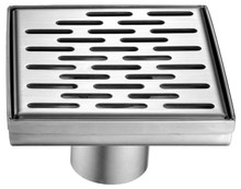 "ALFI ABSD55C 5"" x 5"" Modern Square Stainless Steel Shower Drain with Groove Holes"