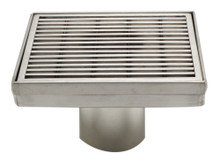 "ALFI ABSD55D 5"" x 5"" Square Stainless Steel Shower Drain with Groove Lines"