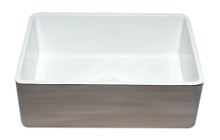 ALFI ABTI3020SB Smooth Titanium/Fluted 30 inch Reversible Single Fireclay Farmhouse Kitchen Sink