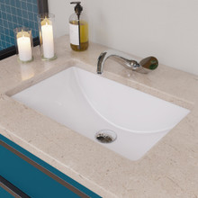 "EAGO BC227 White Ceramic 22""x15"" Undermount Rectangular Bathroom Sink"