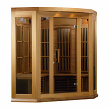 Maxxus Sauna 3 Per Corner Low EMF FAR Infrared Carbon Canadian Red Cedar Sauna