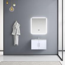 "Lexora Geneva 30"" Glossy White Single Vanity, White Carrara Marble Top, White Square Sink and 30"" LED Mirror w/ Faucet"