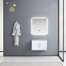 "Lexora Geneva 30"" Glossy White Single Vanity, White Carrara Marble Top, White Square Sink and 30"" LED Mirror"