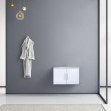 "Lexora Geneva 30"" Glossy White Single Vanity, White Carrara Marble Top, White Square Sink and no Mirror"