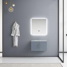 "Lexora Geneva 30"" Dark Grey Single Vanity, White Carrara Marble Top, White Square Sink and 30"" LED Mirror"