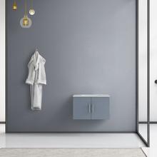 "Lexora Geneva 30"" Dark Grey Single Vanity, White Carrara Marble Top, White Square Sink and no Mirror"