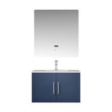"Lexora Geneva 30"" Navy Blue Single Vanity, White Carrara Marble Top, White Square Sink and 30"" LED Mirror w/ Faucet"