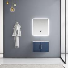 "Lexora Geneva 30"" Navy Blue Single Vanity, White Carrara Marble Top, White Square Sink and 30"" LED Mirror"