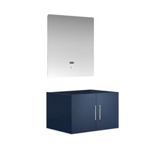"Lexora Geneva 30"" Navy Blue Single Vanity, White Carrara Marble Top, White Square Sink and no Mirror"