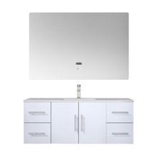 "Lexora Geneva 48"" Glossy White Single Vanity, White Carrara Marble Top, White Square Sink and 48"" LED Mirror w/ Faucet"