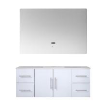 "Lexora Geneva 48"" Glossy White Single Vanity, White Carrara Marble Top, White Square Sink and 48"" LED Mirror"