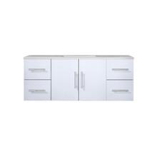 "Lexora Geneva 48"" Glossy White Single Vanity, White Carrara Marble Top, White Square Sink and no Mirror"