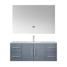 "Lexora Geneva 48"" Dark Grey Single Vanity, White Carrara Marble Top, White Square Sink and 48"" LED Mirror w/ Faucet"